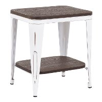 TE-OR-VWE Industrial White Metal and Espresso End Table - Oregon