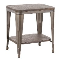 TE-OR-ANE Antique Metal and Espresso  Industrial End Table - Oregon