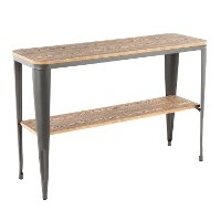 TBC-OR1648-GYBN Matte Grey Metal And Bamboo Sofa Table - Oregon