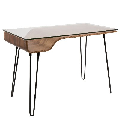 OFD-AVERY-WL Walnut and Black Metal Mid-Century Modern Desk