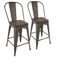 CS-ORHB-AN+E2 Industrial Antique Metal and Espresso Counter Height Stool with Back (Set of 2) - Oregon