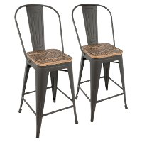 CS-ORHB-GY+BN2 Industrial Gray and Brown Counter Height Stool with Back (Set of 2) - Oregon