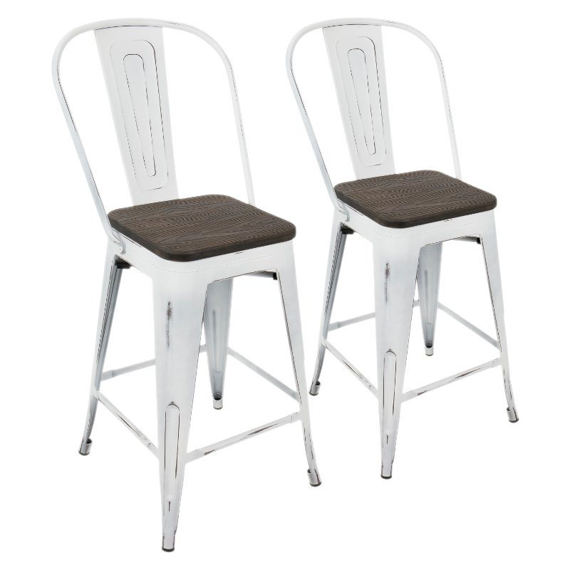 White And Espresso Counter Height Stool