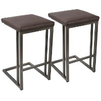 CS-RMN-AN+E2 Industrial Antique Metal and Brown 26 Inch Counter Height Stool (Set of 2) - Roman