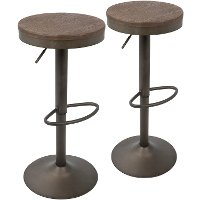 BS-DAK-AN+BN2 Antique Brown Round Adjustable Bar Stool (Set of 2) - Dakota