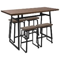 C-GEO5-BK+BN Industrial Black and Brown 5 Piece Counter Height Dining Set - Geo