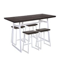 C-GEO5-VW+E Industrial White and Brown 5 Piece Counter Height Dining Set - Geo