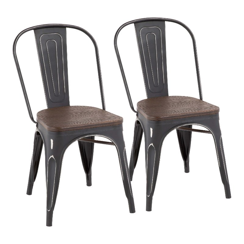 Farmhouse Black And Brown Dining Room Chair Set Of 2 Oregon