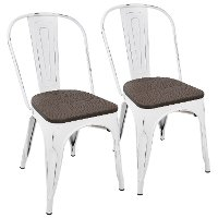 DC-OR-VW+E2 Farmhouse White and Brown Dining Room Chair (Set of 2) - Oregon