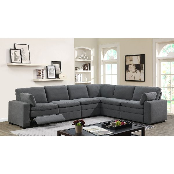 20be3ae7b66710 ... Charcoal Gray 6 Piece Power Reclining Sectional Sofa - Infinity
