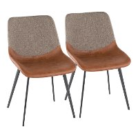 DC-OTLW-BK+BN2 Industrial Faux Leather and Fabric Dining Room Chair (Set of 2) - Outlaw