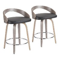 B24-GROTTOR-LGY+BK2 Mid Century Gray and Black 24 Inch Counter Height Stools (Set of 2) - Grotto