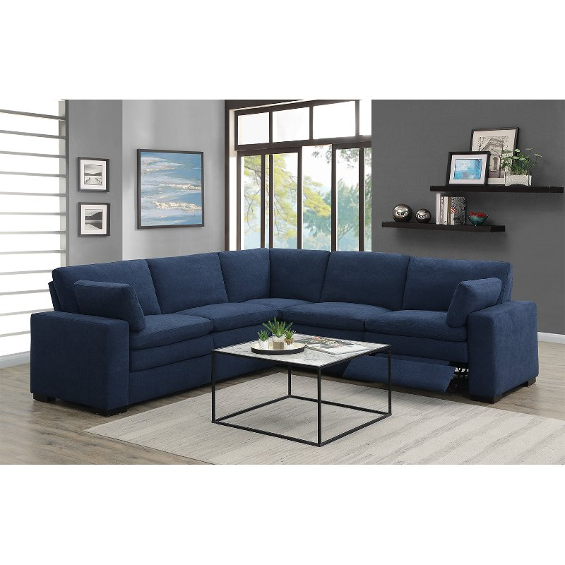 Power Reclining Sofa Collection With Headrests Upholstered In Navy Blue Or Beige Padded Chenille Wall Hugger Recliner Mechanism Switch