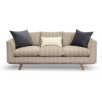 Casual Modern Striped Taupe Sofa - Bexley