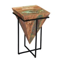 Multi Color Inverted Cone Accent Table in Metal Base