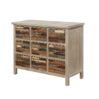 Rustic Worn Wood Nine Drawer Accent Cabinet