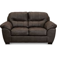 Casual Contemporary Chocolate Brown Loveseat - Legend