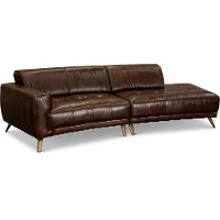Modern Brown Leather 2 Piece Sectional Sofa - Rockford