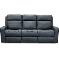 Anchor Blue Leather-Match Power Reclining Sofa - Cody