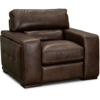 Contemporary Brown Leather Chair - Sundance