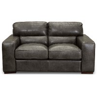 Contemporary Charcoal Gray Leather Loveseat - Sundance