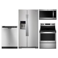 KIT Whirlpool 4 Piece Electric Kitchen Appliance Package with 28 cu. ft. Refrigerator - Stainless Steel
