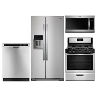 KIT Whirlpool 4 Piece Gas Kitchen Appliance Package with 28 cu. ft. Refrigerator - Stainless Steel