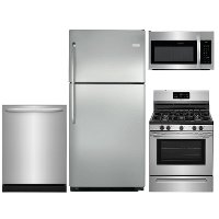 KIT Frigidaire 4 Piece Gas Kitchen Appliance Package with Top Freezer - Stainless Steel