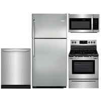 KIT Frigidaire 4 Piece Electric Kitchen Appliance Package with Top Freezer - Stainless Steel