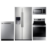 KIT Samsung 4 Piece Electric Kitchen Appliance Package with 24.5 cu. ft. Side by Side Refrigerator - Stainless Steel