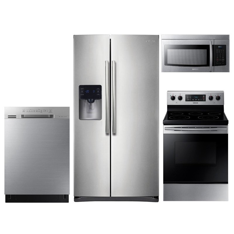 Samsung 4 Piece Electric Kitchen Appliance Package with 24.5 cu. ft. Side  by Side Refrigerator - Stainless Steel