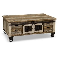 Rustic Pine Coffee Table with Iron Accents - Antique Pine