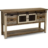 Rustic Pine Sofa Table with Iron Accents - Antique Pine