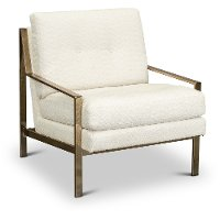 Modern White and Brass Accent Chair - Cleo