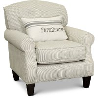 Traditional Farmhouse Striped Accent Chair - Caitlin