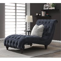 Charcoal Blue-Gray Button Tufted Chaise - Verona