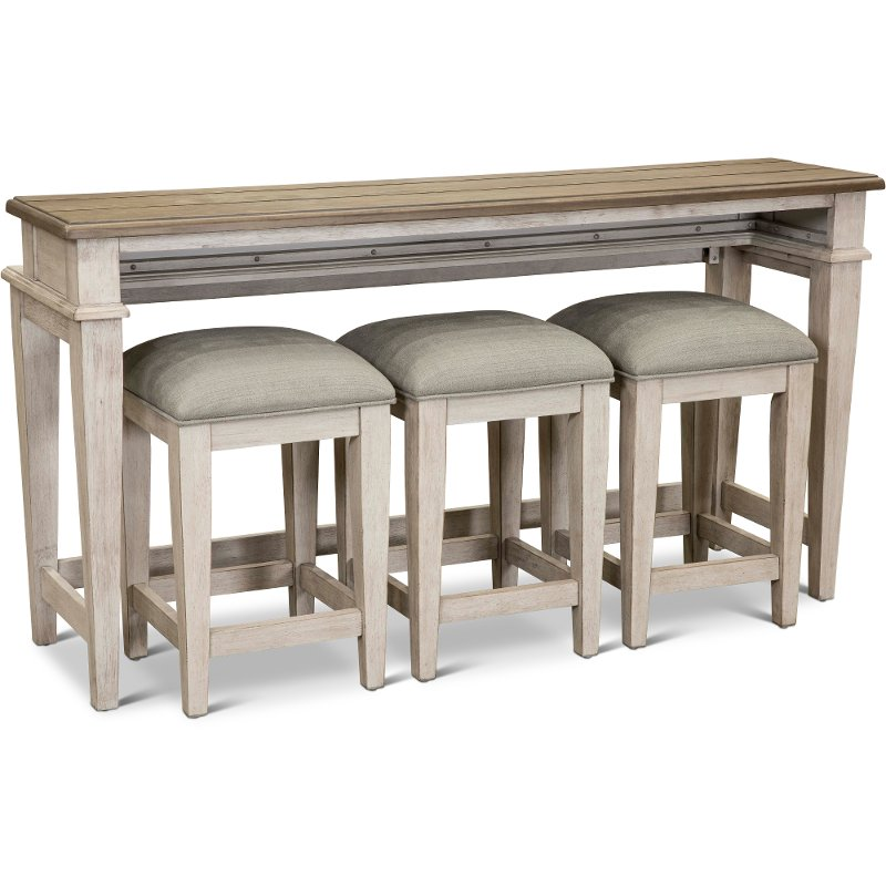 Weathered Oak Sofa Table With 3 Stools