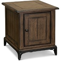 Rustic End Table with One Door - Stone Mountain