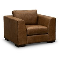 Contemporary Brown Leather Chair - Hawkins