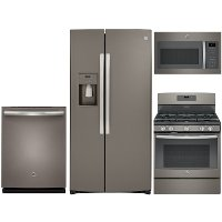 KIT GE 4 Piece Gas Kitchen Appliance Package with Side by Side Refrigerator - Slate Stainless Steel