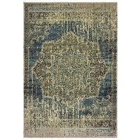 8 x 11 Large Ivory and Blue Rug - Raleigh