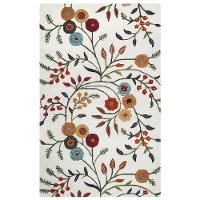5 x 8 Medium Ivory Floral Area Rug - Dimension