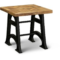 Industrial Reclaimed Wood End Table - Unwin