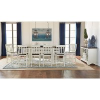 White and Brown 5 Piece Counter Height Dining Set with Slat Back Chairs - Mariposa