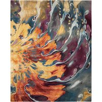 5 x 8 Medium Orange, Crimson and Purple Area Rug - Prismatic