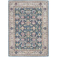 5 x 8 Medium Beige, Pink, and Navy Blue Rug - Ankara Global