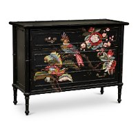 Black and Multi Color Artwork 3 Drawer Accent Cabinet