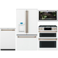 KIT Cafe 4 Piece Gas Kitchen Appliance Package with 22.2 cu. ft. French Door Refrigerator - White