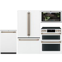 KIT Cafe 4 Piece Electric Kitchen Appliance Package with French Door Refrigerator - White