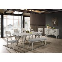 Contemporary White 6 Piece Dining Set - White Sands